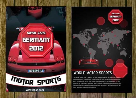 Bi-Fold Automobile Brochure Template PSD