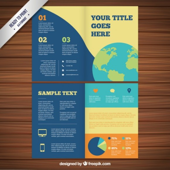 Colored Vector Brochure Template with World Map