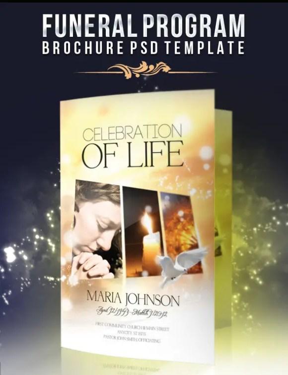 Funeral Program Brochure PSD Template