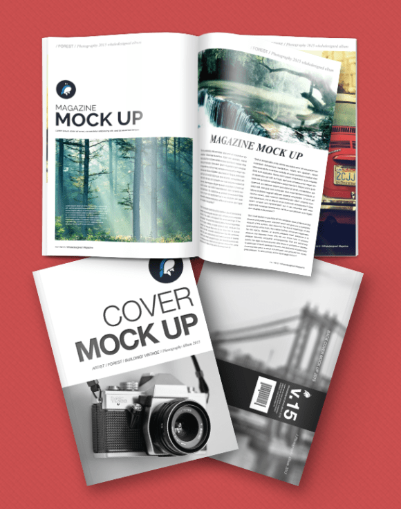 Magazine Mockup with Front and Back Cover PSD