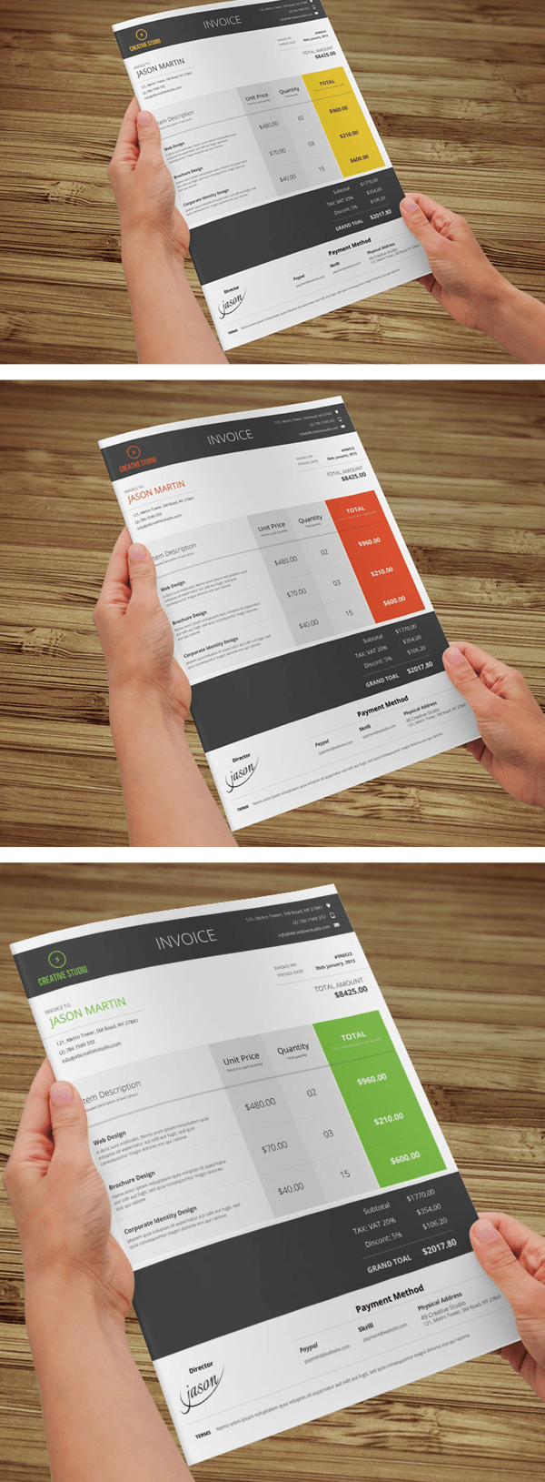 Metro and Minimal Business Invoice Template