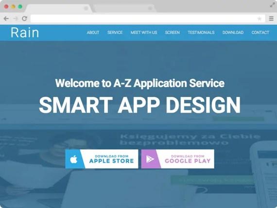 Rain - A Free Responsive HTML5 App Landing Page Template