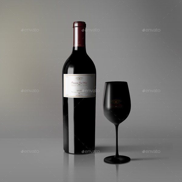 Classic Red Wine Bottle and Glass Mockup