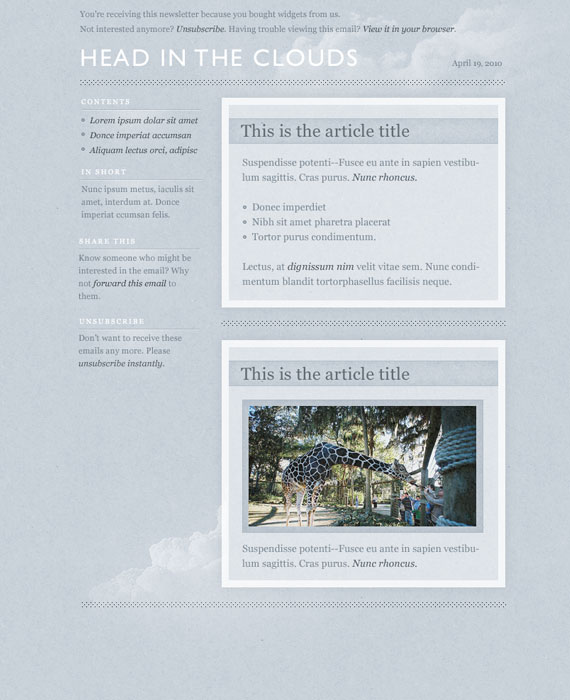 Clouds Email Newsletter Template