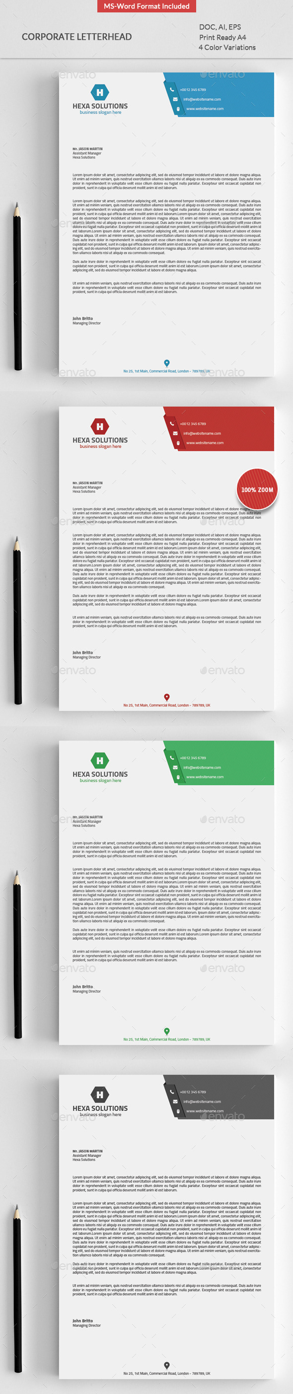 Corporate Letterhead Template  Letterhead Template Word Free
