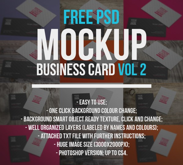 Free PSD Mockup - Business Card Vol 2