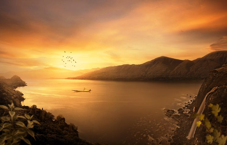 How to Manipulate a Beautiful Sunset Matte Painting in Photoshop