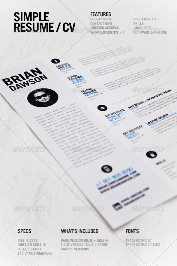 Simple Resume InDesign INDD