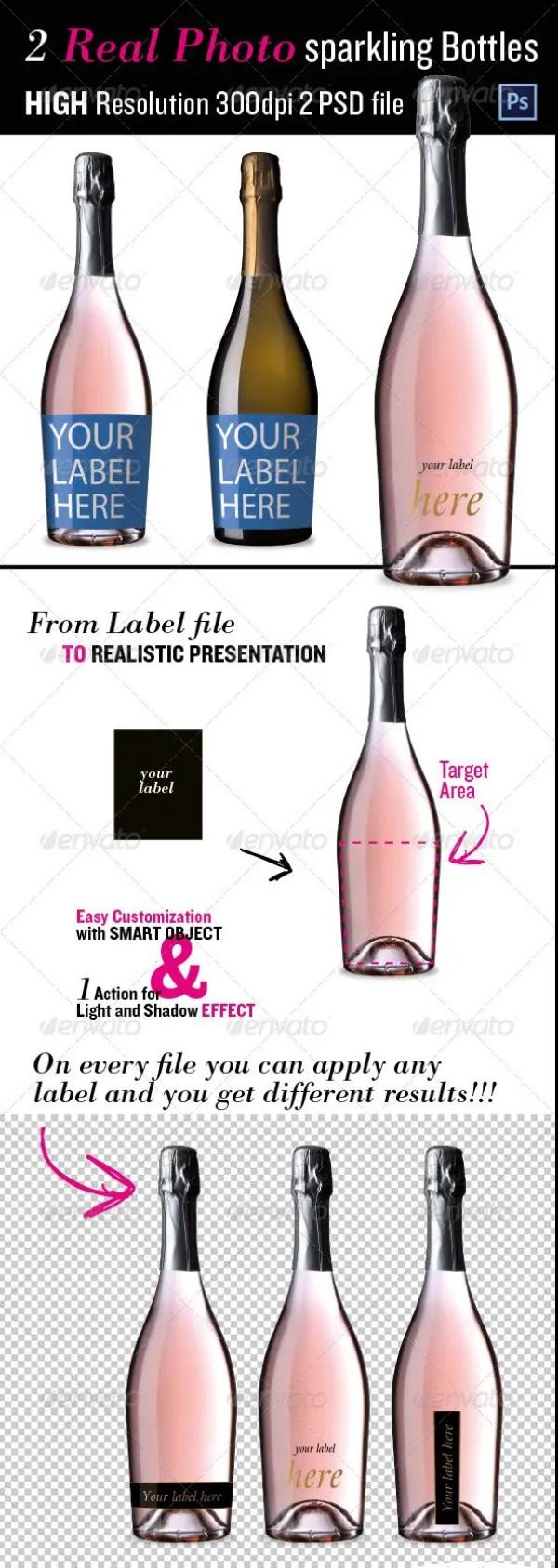 Sparkling Wine Bottles Mockup
