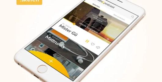 Video Podcast App Design using Sketch