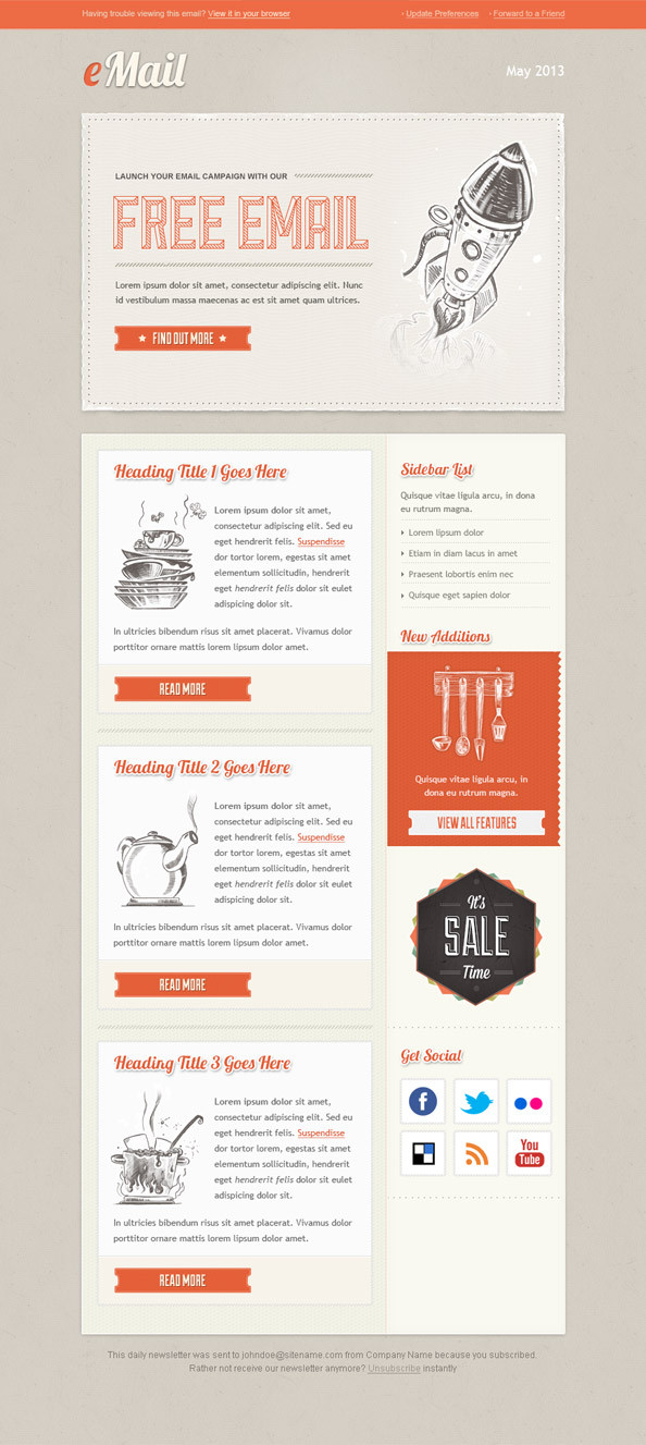 36 best email newsletter templates free psd html download vintage email newsletter template spiritdancerdesigns Gallery