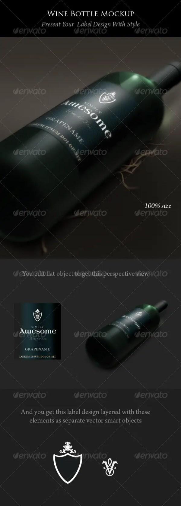 Wine Bottle and Label Mockup