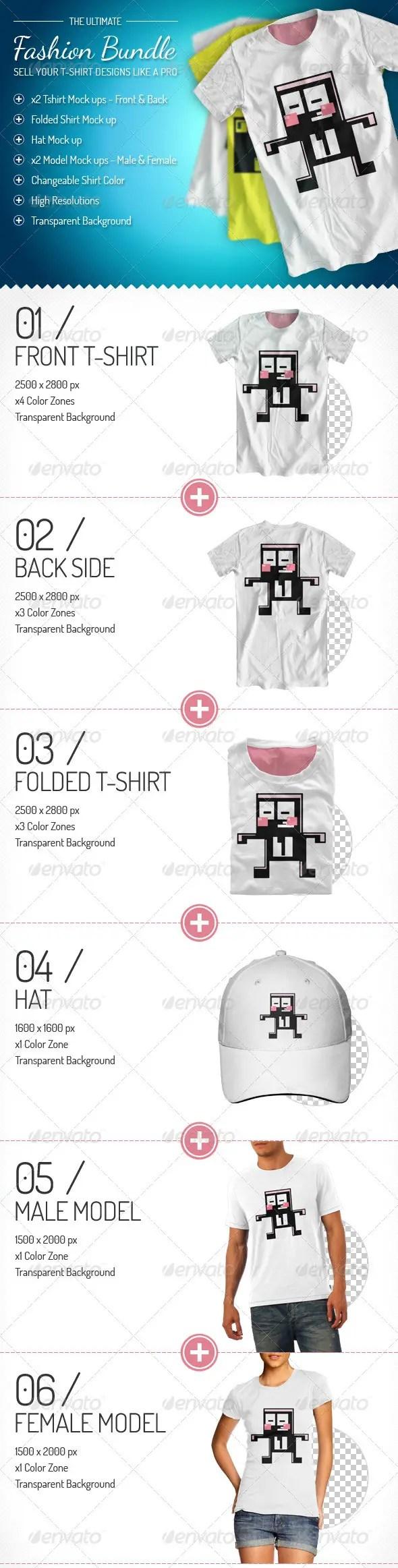 Fashion Bundle - x3 T-shirt / x2 Models / Hat