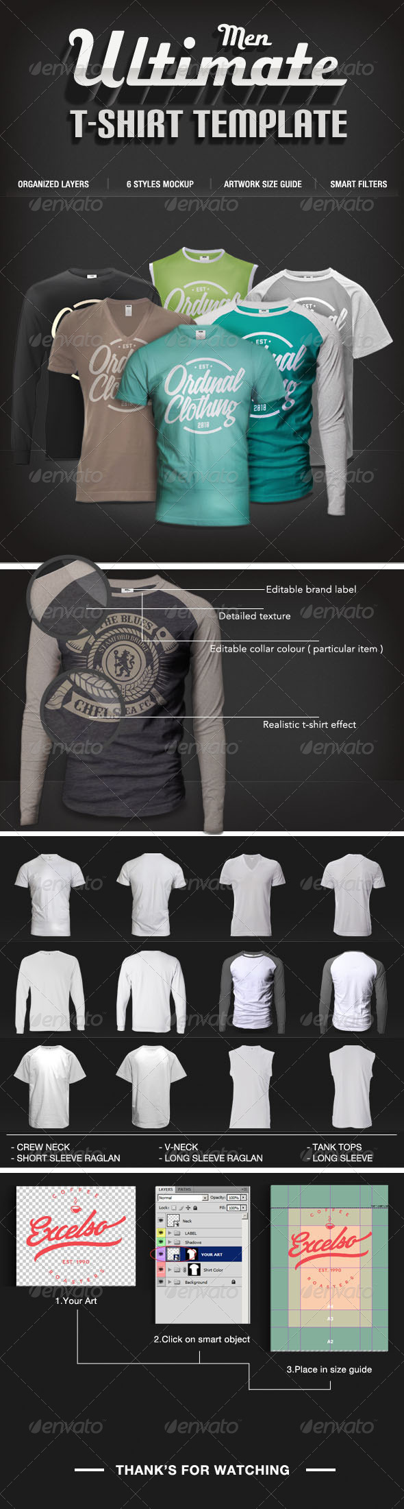Men T-shirt Mock-Ups Set