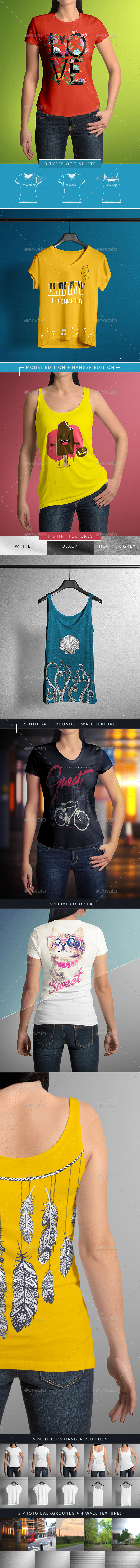 T-Shirt Mock-Up Female Model / Classic Edition