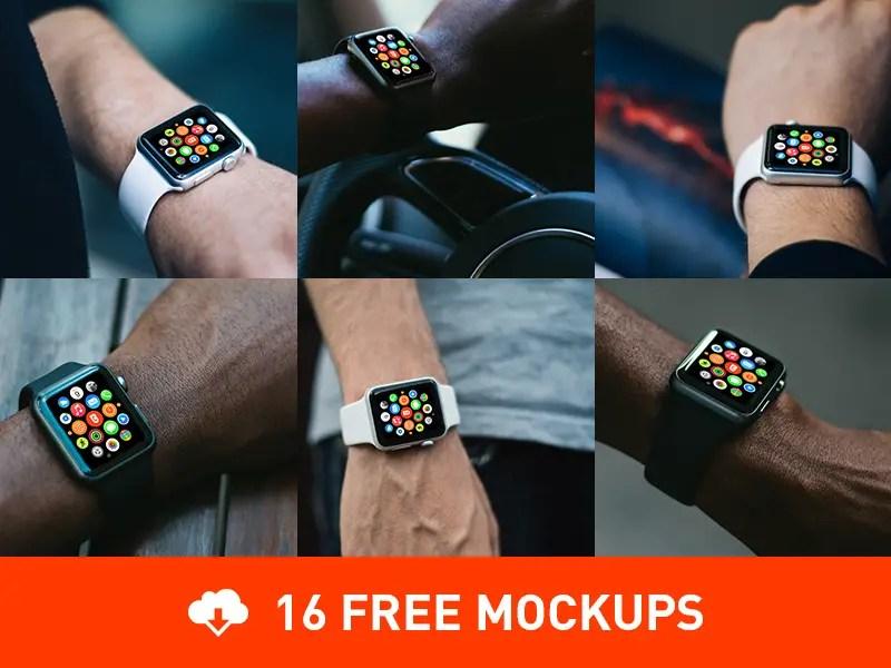16 Free Photorealistic Apple Watch mockups