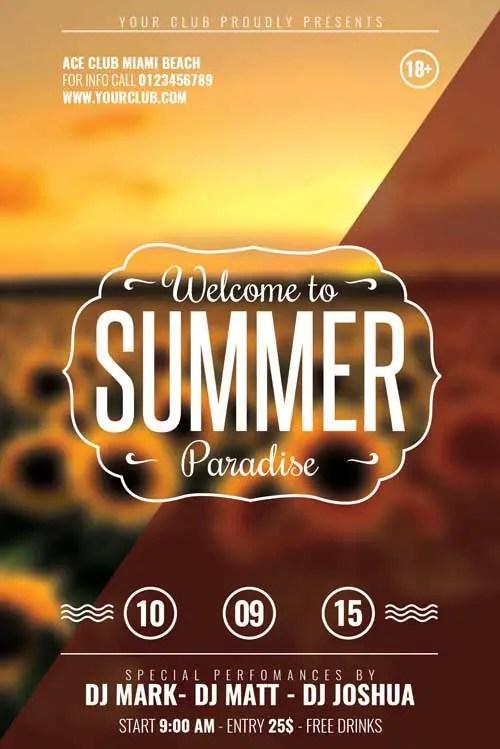 FREE End Of Summer Minimal Flyer
