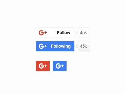 Google Plus Buttons PSD