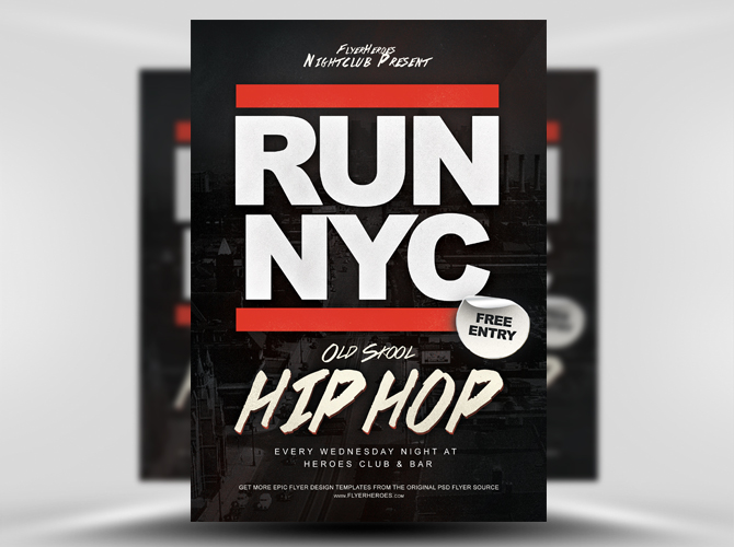 RUN NYC Free Hip Hop Flyer Template
