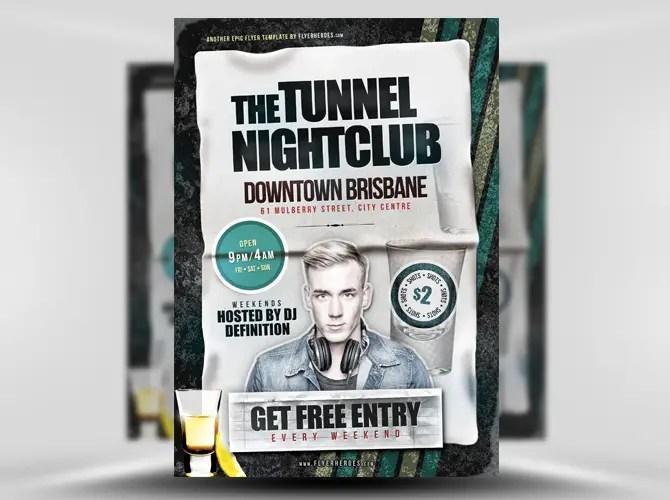 Tunnel Free Nightclub Flyer Template