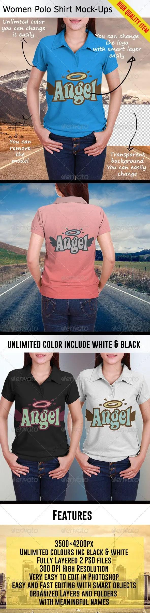 Women Polo Shirt Mockups