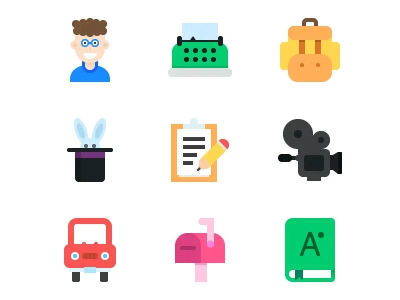9 Flat Icons