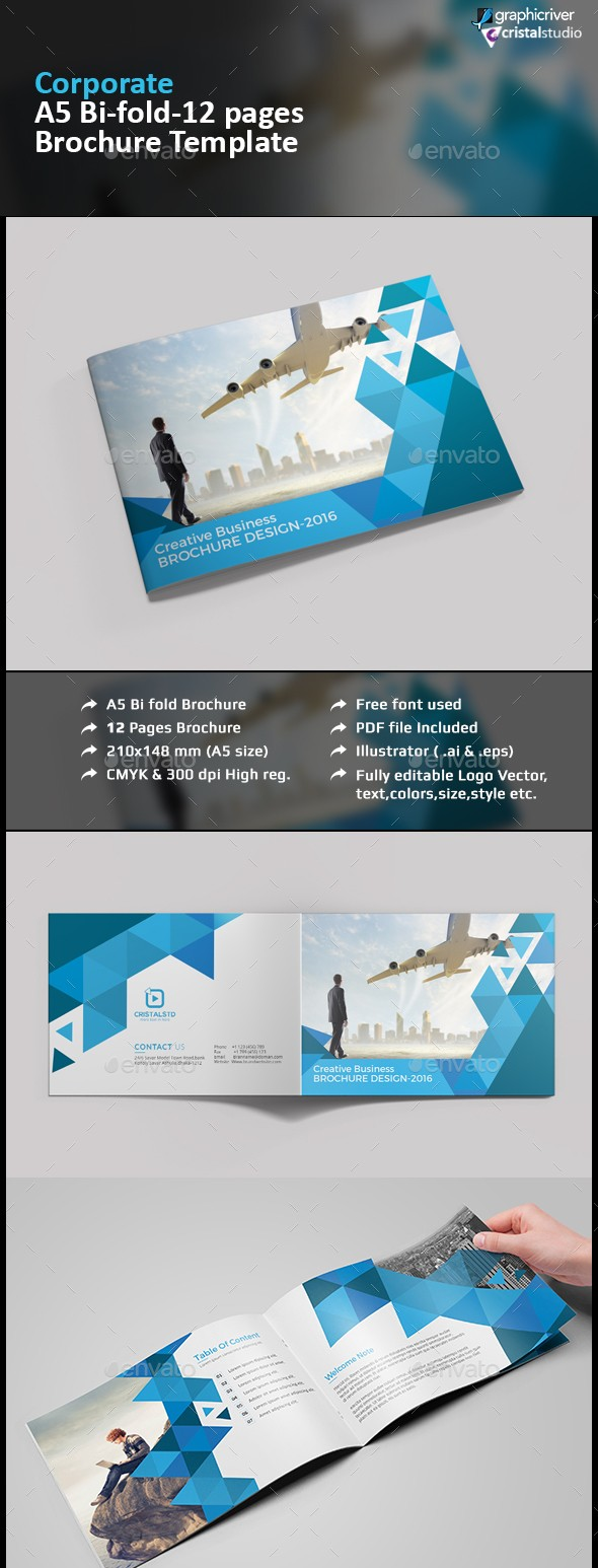 Print Ready Brochure Templates Free PSD InDesign AI Download - A5 brochure template