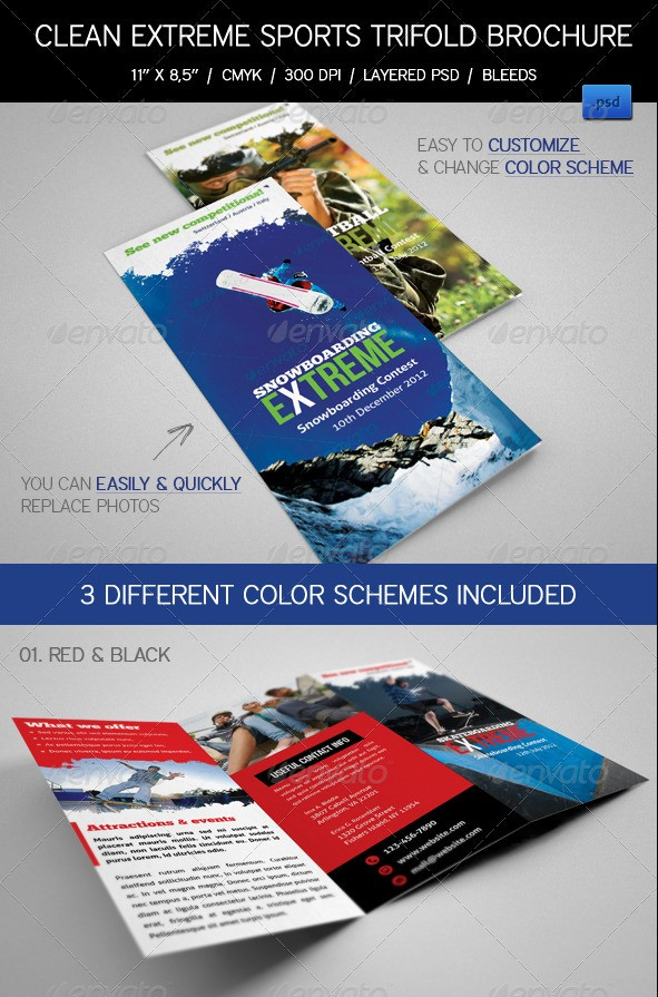 Extreme Sports Event Tri-Fold Brochures