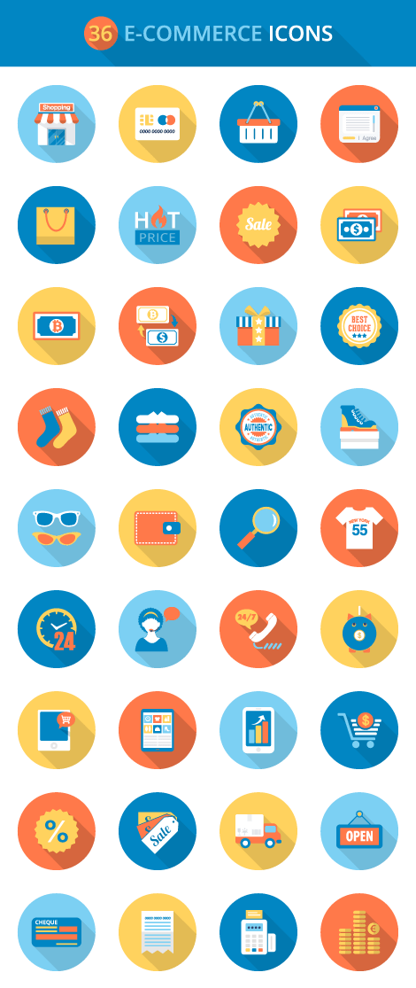 Flat E-commerce Icons Set
