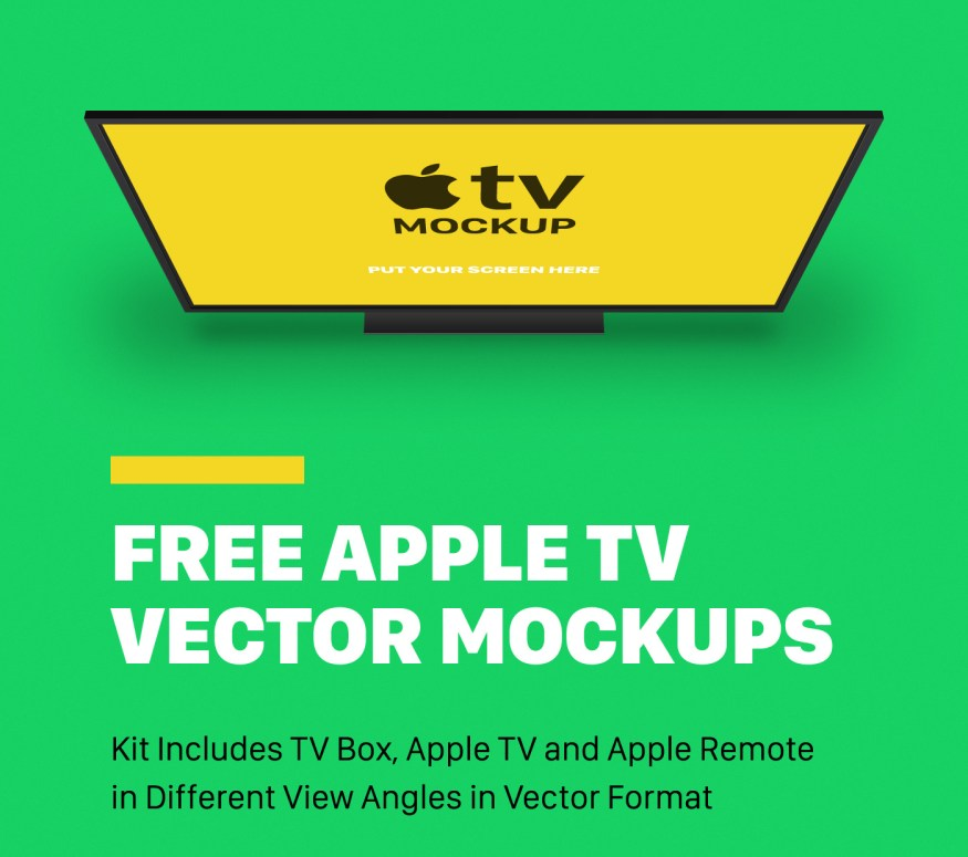 Free Apple TV Vector Mockups Kit