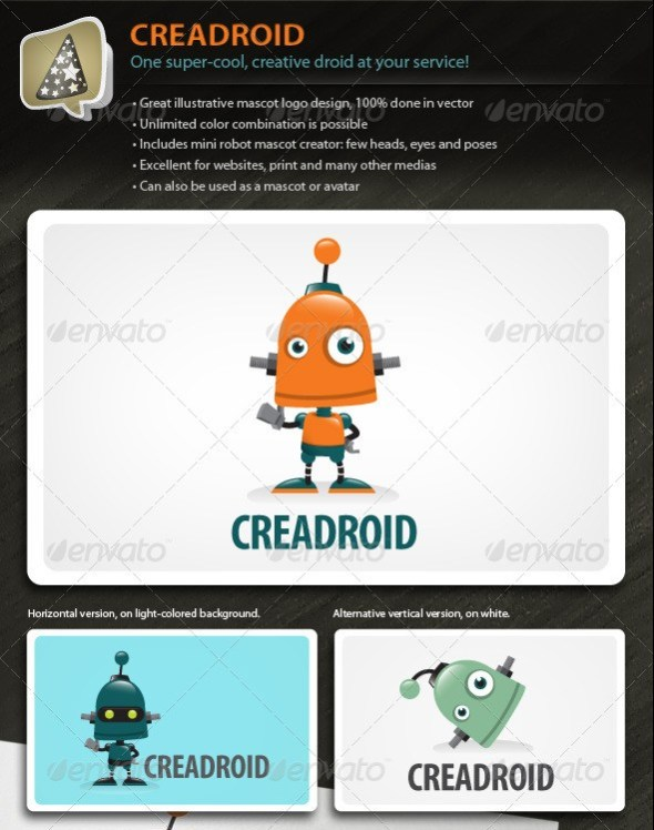 Creadroid - Robot Mascot Logo For Any Creative Biz
