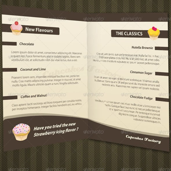 Cupcakes Bakery Menu