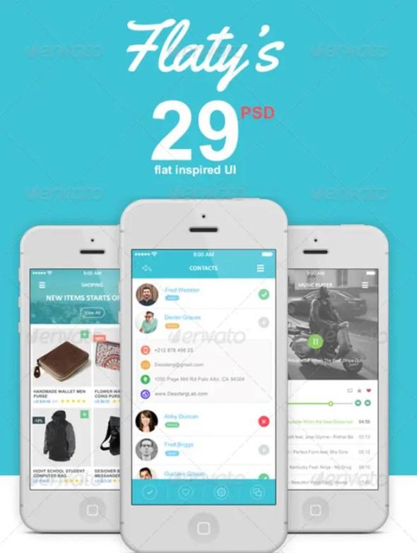Flat Mobile App UI Design