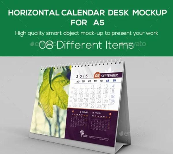 Horizontal Calendar Desk Mockup For A5
