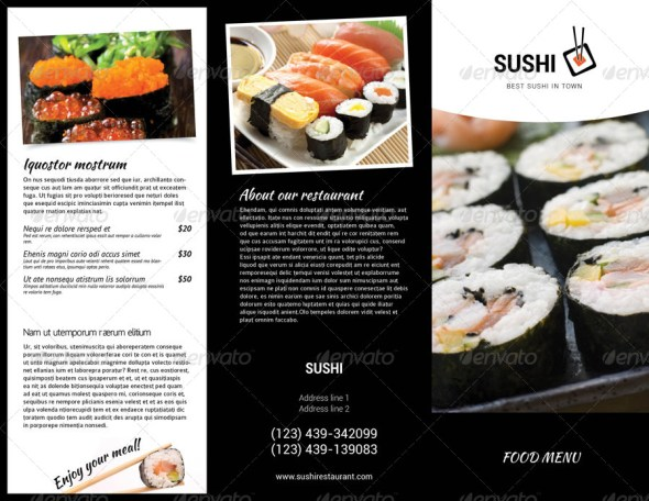 Sushi Menu Tri-Fold