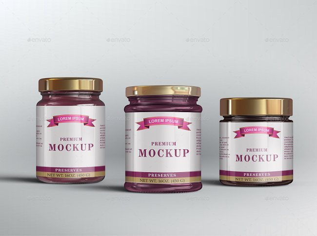 10 Jelly / Jam / Honey Jars Mockup