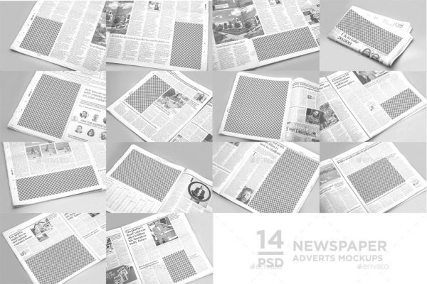 14 Newspaper Adverts Mockups