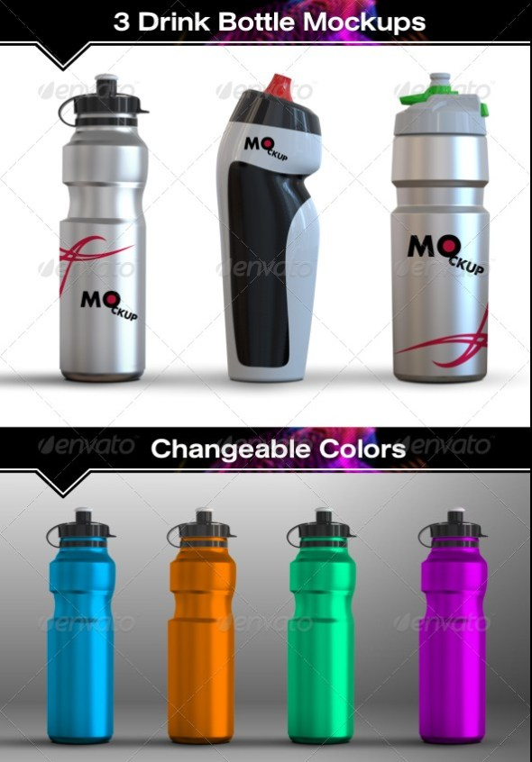 3 Drink Water Bottle Mockups