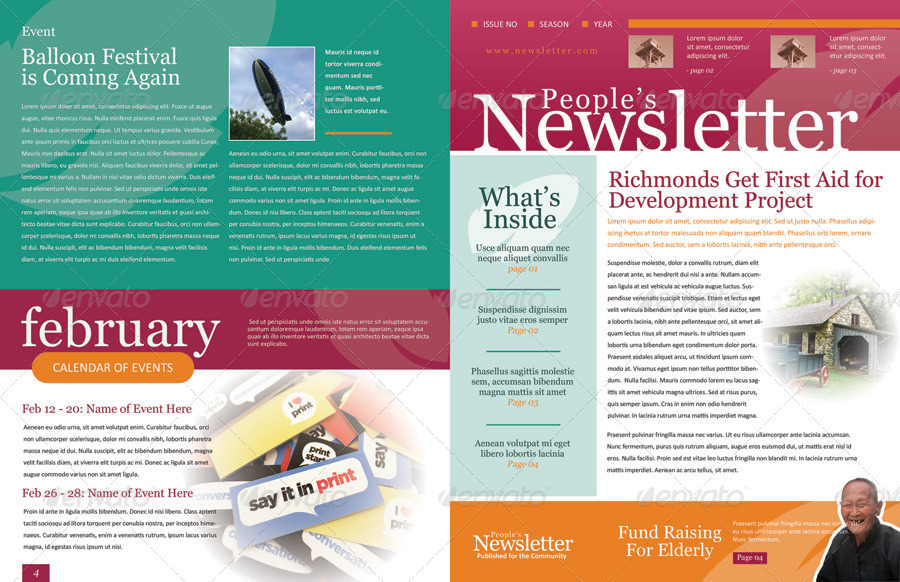 4 Pages Newsletter Template  News Letter Formats