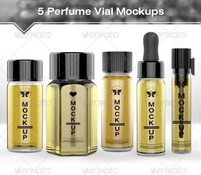 5 Perfume Vial Mockups