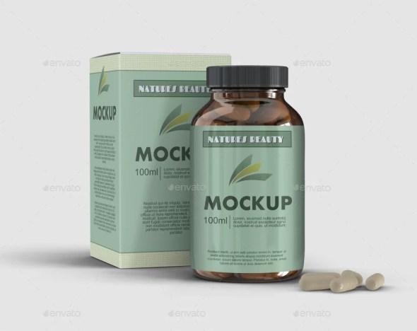 5 Supplement Capsule Bottle Mockups