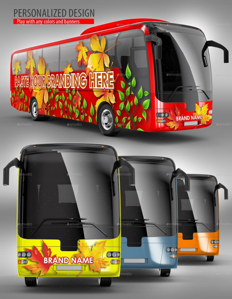 Bus, Coach Bus, Tourist Bus Mockup