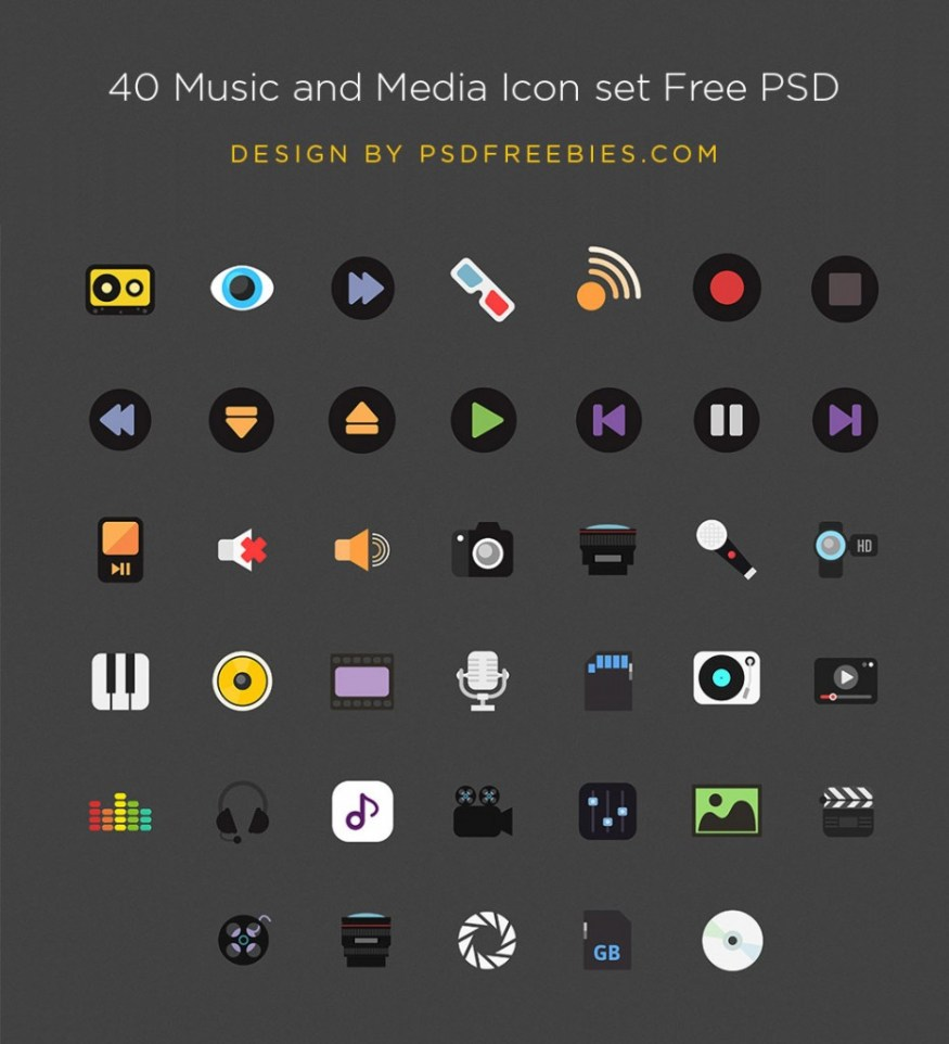 Free Music and Media Icons set PSD