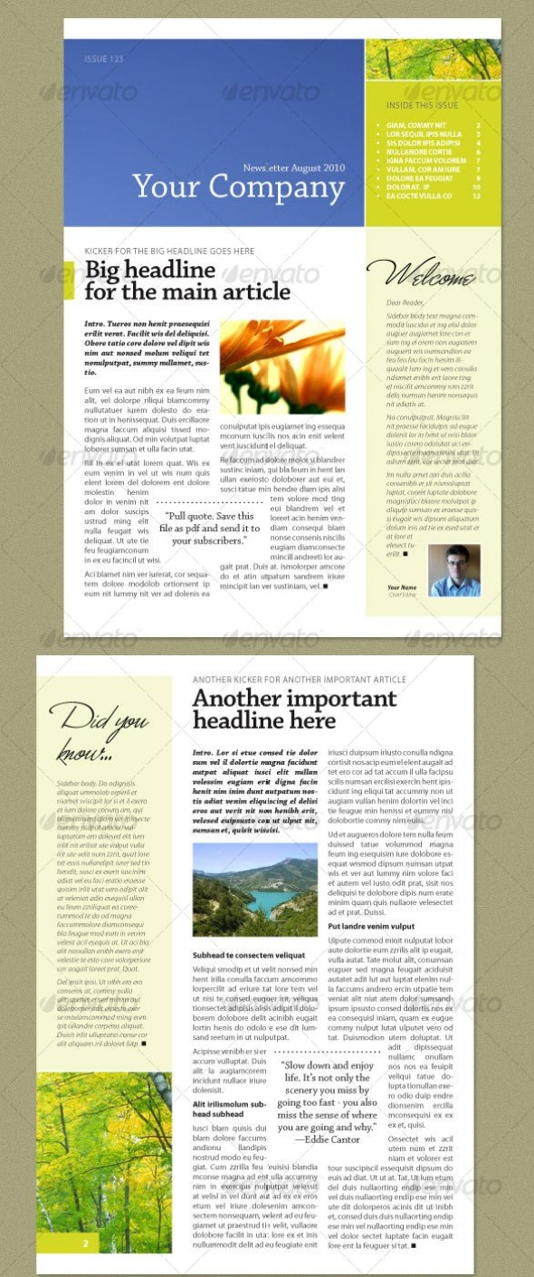 Newsletter Fresh Green (4 pages)
