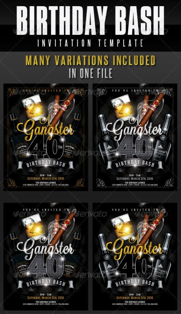 Birthday Invitation Template - Gangster Style Pt.1