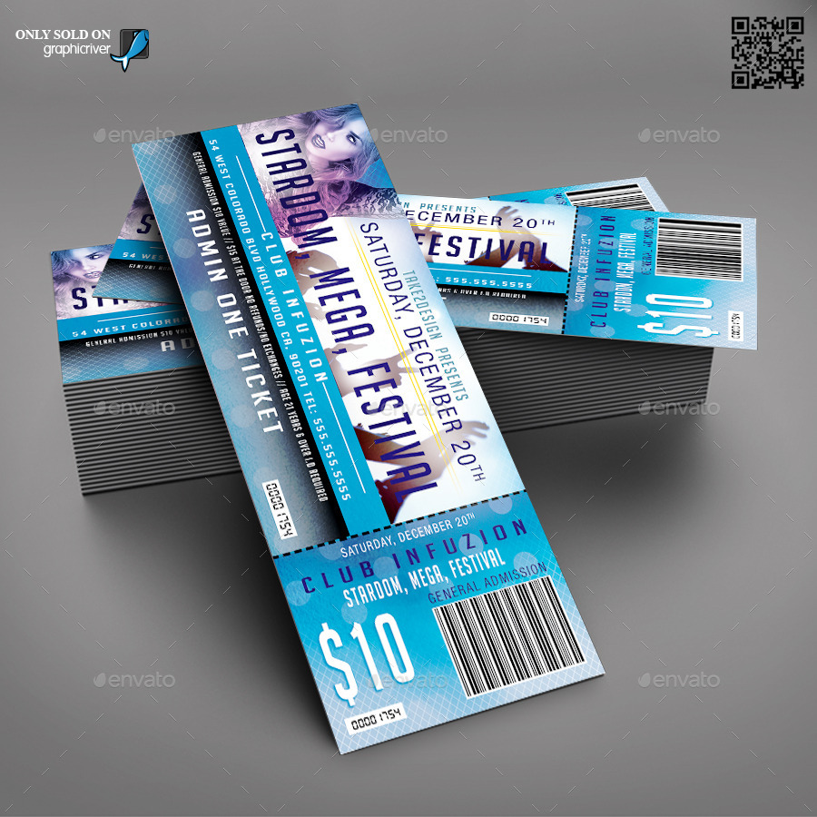 Print Ready Event Ticket Template  Print Tickets Free Template
