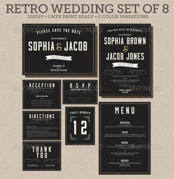 Retro Wedding Set of 8