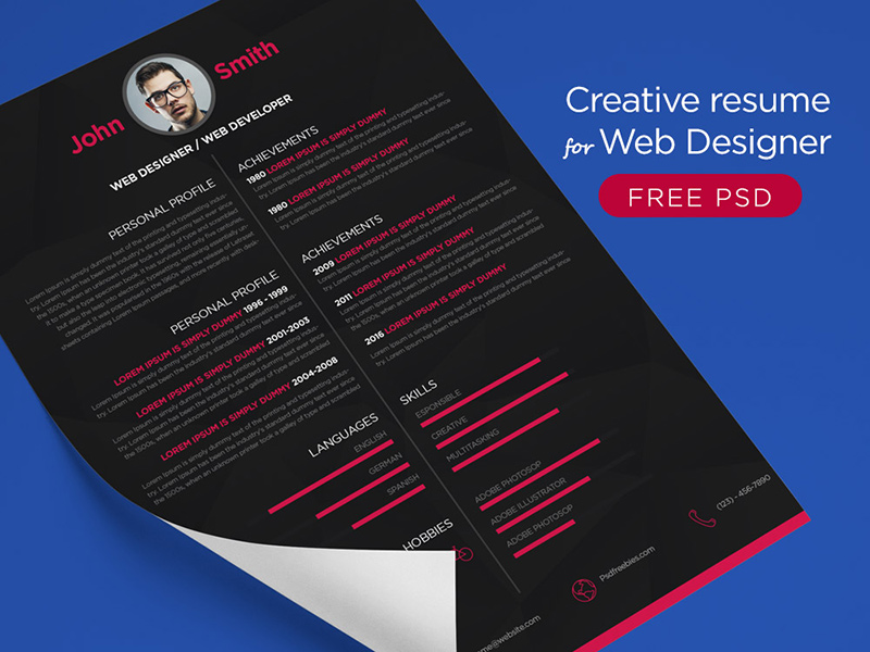 Free Creative Resume Template For Web Designers