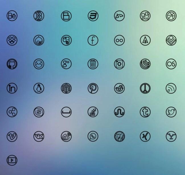 Free Social Line Icons