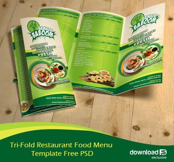 Free Tri-Fold Restaurant Food Menu Brochure Template